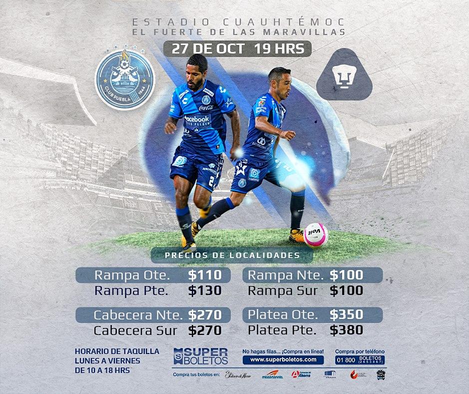 2a96bea0b Venta de Boletos) AP2017 / J15 LIGA   Club Puebla vs Pumas UNAM .
